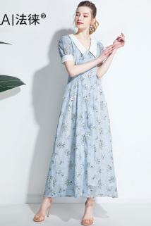 邮多多淘宝集运转运2021新款雪纺碎花法式连衣裙长款气质女神范蓝色长裙女夏超仙温柔