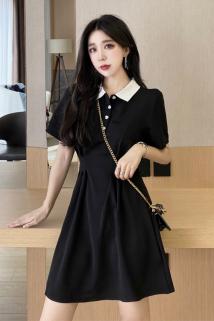 邮多多淘宝集运转运小个子新款Polo领连衣裙女夏2021甜美撞色翻领a字收腰显瘦小黑裙