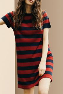 邮多多淘宝集运转运夏装2021新款女通勤气质撞色短袖条纹连衣裙中长款宽松显瘦直筒裙