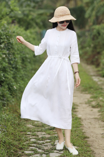 邮多多淘宝集运转运歌/词~白色/十木米原创 2021夏新款旅行文艺仙气白色亚麻连衣裙