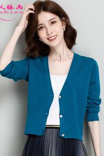 邮多多淘宝集运转运小款针织开衫女士短款披肩外搭春秋季2021年新款高腰洋气毛衣外套