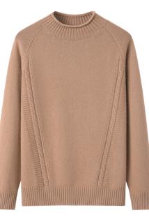 邮多多淘宝集运转运2020新款女式加厚羊绒衫时尚卷边领驼色毛衣套头保暖针织衫女装