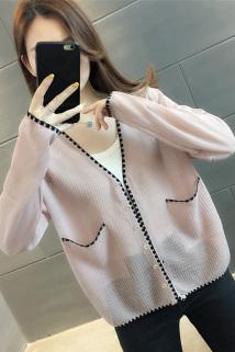 邮多多淘宝集运转运小香风春装2021新款时尚v领针织开衫薄款毛衣女士宽松外穿小外套