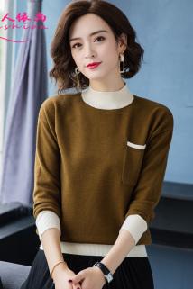 邮多多淘宝集运转运短款毛衣女士时尚套头2020秋冬新款半高领长袖宽松外穿针织打底衫