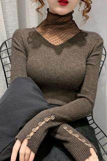 邮多多淘宝集运转运网格蕾丝高领拼接套头针织衫新款秋冬洋气纽扣袖打底衫女士弹力衫