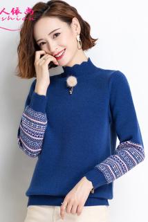 邮多多淘宝集运转运半高领毛衣女士短款宽松外穿秋冬季2020年新款韩版上衣针织打底衫