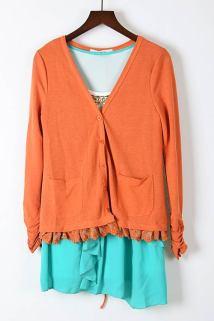 邮多多淘宝集运转运两件套长袖针织衫外套+雪纺衫女士春季新款V领韩版显瘦中长款套装