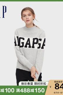 邮多多淘宝集运转运Gap女装时尚LOGO撞色纯棉毛衣 春季新款女士休闲内搭针织衫