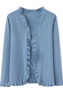 邮多多淘宝集运转运秋装新款羊绒衫女式木耳边V领对襟气质淑女无扣修身针织开衫外套