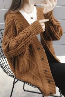 邮多多淘宝集运转运春季女士中长款麻花针织衫宽松洋气毛衣开衫外套春装2021年新款女