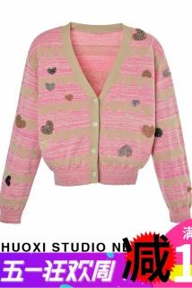 邮多多淘宝集运转运地叔叔 2021春长袖短款女士小开衫上衣薄款爱心针织衫2D1E507