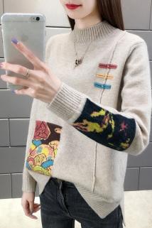 邮多多淘宝集运转运女士毛衣女宽松外穿2020年新款秋冬加绒加厚针织上衣内搭打底衫潮