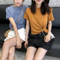 华人代购转运纯棉短袖女2021春夏新款ins潮打结t恤短款纯色韩版个性小众短上衣