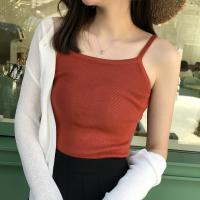 华人代购转运港味复古chic吊带背心女夏内搭性感打底衫红色针织外穿短款上衣潮