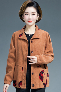 邮多多淘宝集运转运妈妈装2021新款春秋大码外套中老年妇女纯棉灯芯条绒上衣短款洋气