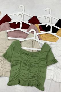 邮多多淘宝集运转运短款上衣女泫雅风露脐方领针织衫夏季法式修身短袖T恤2020年新款