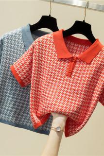 邮多多淘宝集运转运短袖t恤女2021年夏季新款女韩版修身网红针织polo衫短款上衣ins潮