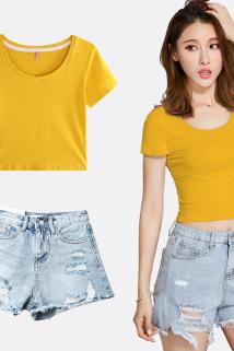 邮多多淘宝集运转运短款t恤女短袖修身圆领夏季高腰漏肚脐紧身打底衫时尚露脐上衣女