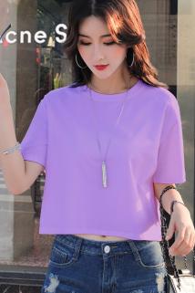 邮多多淘宝集运转运紫色短款T恤女短袖露脐宽松纯棉2021新款漏肚脐高腰超短半袖t上衣