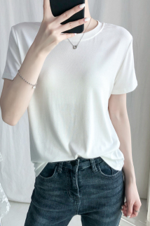 邮多多淘宝集运转运莫代尔圆领短袖t恤女夏季白色宽松打底内搭大码纯色短款上衣ins潮