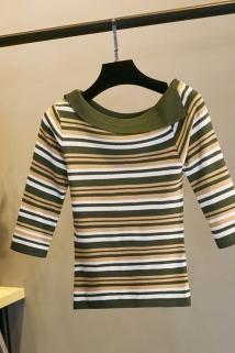 邮多多淘宝集运转运夏季条纹中袖一字领冰丝打底衫短款七分袖套头T恤时尚露肩上衣女