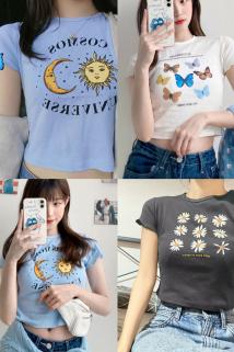 邮多多淘宝集运转运短袖女2021年夏季新款流行薄款韩版小众设计高腰t恤短款上衣ins潮