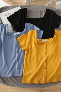 邮多多淘宝集运转运方领短袖t恤女夏韩版ins超火修身显瘦姜黄色高腰短款纯色上衣体恤
