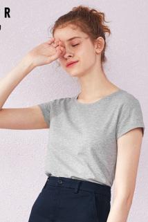 邮多多淘宝集运转运森马短袖T恤女2021夏季新款女装灰色纯棉半袖衣服短款上衣打底衫