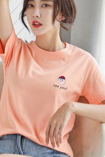 邮多多淘宝集运转运橘色短袖t恤女2021年新款夏季韩版宽松百搭短款半袖上衣体桖ins潮