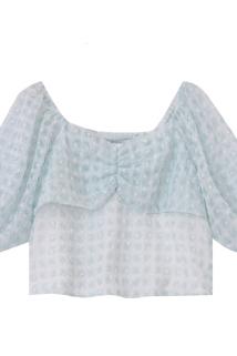 邮多多淘宝集运转运JIUJIU泡泡袖上衣女2020夏季新款古着少女感小个子仙女衬衫女短款