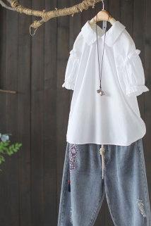 邮多多淘宝集运转运西缺蓝标2020夏新款白色纯棉泡泡袖衬衫女甜美日系娃娃领短款上衣