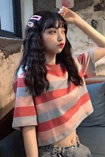 邮多多淘宝集运转运夏季韩版宽松ins短款彩虹条纹短袖T恤女学生学院风BF半袖体恤上衣