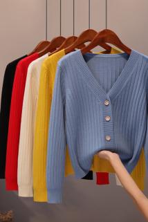 邮多多淘宝集运转运秋季新款宽松短款开衫女V领纯色百搭毛衣外套简约长袖针织衫上衣