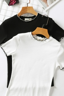 邮多多淘宝集运转运夏季半高领木耳边紧身针织白色短袖T恤女韩版短款上衣服半袖体恤