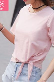 邮多多淘宝集运转运春夏韩版宽松圆领短袖露脐T恤短款下摆打结纯棉粉色体恤上衣女装