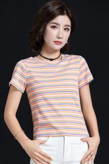 邮多多淘宝集运转运彩色条纹t恤女短袖港风夏季ins潮短款上衣女2021新款显瘦洋气超仙