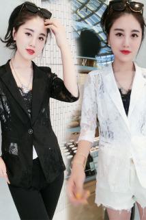 邮多多淘宝集运转运2020夏季新款蕾丝小西装女韩版薄款时尚短款休闲西服外套上衣女潮