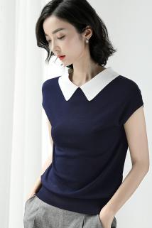 邮多多淘宝集运转运夏季冰丝针织衫女套头宽松短袖t恤薄款韩版娃娃领短款修身上衣