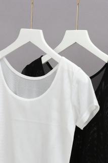 邮多多淘宝集运转运夏季新款纯色网纱打底衫半身t恤女半截上衣短款内搭短袖沙衣2020