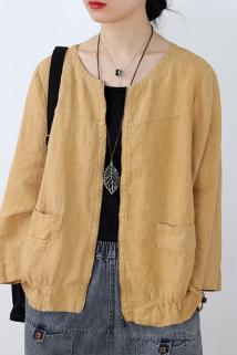 邮多多淘宝集运转运2021年春季新款韩版简约拉链开衫外套显瘦百搭宽松亚麻上衣女短款