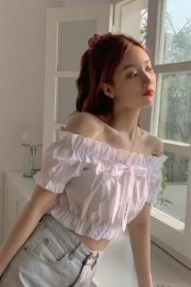 邮多多淘宝集运转运夏季2020新款法式泡泡袖白衬衫女设计感小众短款蝴蝶结一字肩上衣