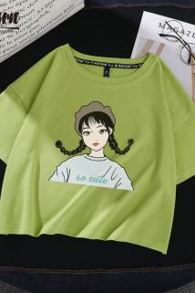 邮多多淘宝集运转运短款t恤女绿色高腰短袖女2021新款体恤纯棉学生宽松ins露脐装上衣