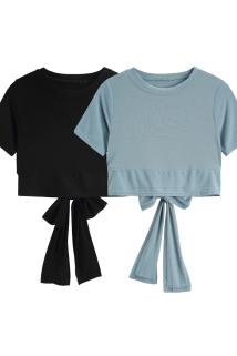 邮多多淘宝集运转运纯色修身露背t恤女短袖2021新款后背绑带露脐短款上衣夏天小心机