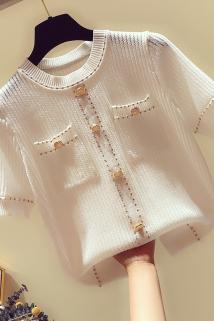邮多多淘宝集运转运夏季女上衣轻熟2021新款小香风针织衫百搭冰丝打底短款线衣超仙薄