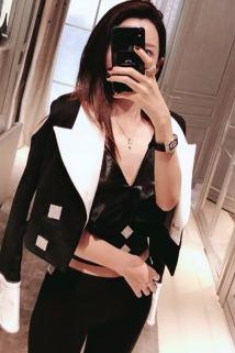 邮多多淘宝集运转运设计师品牌新款黑白方形钻饰撞色翻领小西装外套秋上衣时髦精短款