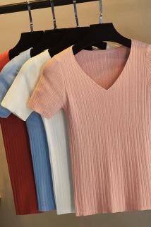 邮多多淘宝集运转运2021夏季针织短袖T恤女修身薄款短款v领冰丝针织衫打底衫紧身上衣