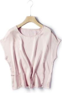 邮多多淘宝集运转运小重磅绸缎夏真丝短袖T袖大码显瘦一字领桑蚕丝上衣短款2021新款