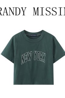 邮多多淘宝集运转运BrandyMelville同款bm刺绣全棉圆领短袖T恤女夏季深绿色短款上衣