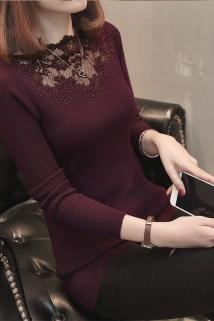 邮多多淘宝集运转运春装2021年新款女上衣内搭毛衣女修身韩版短款蕾丝针织打底衫长袖