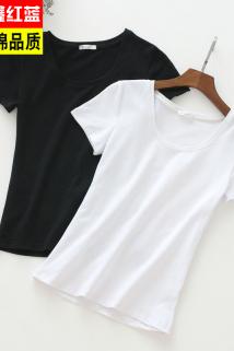 邮多多淘宝集运转运2021年新款短袖t恤女纯色打底衫内搭纯棉夏装修身短款上衣体桖潮